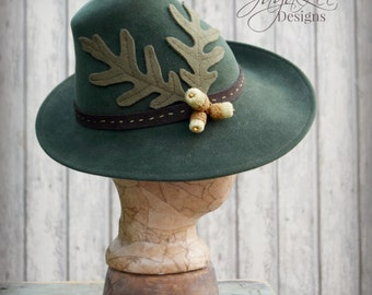 1930's Tilt Fedora Hat, Woodland Wizard, Oak Leaf Acorn