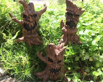 Miniature Spooky Tree Picks, 3 Piece Set, 3 Styles, Fairy Garden Accessory, Home and Garden Decor, Halloween, Evil Tree Picks, Toppers