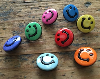 "Smiley Face Buttons, Packaged Novelty Buttons by Buttons Galore, ""Smileys"" Style 4200, Shank Back Buttons, Sewing, Crafting Embellishments"