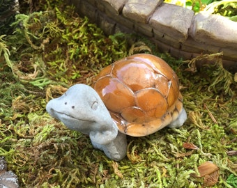 Miniature Daydreaming Tortoise, Turtle Figurine, Fairy Garden Accessory, Miniature Home & Garden Decor, Terrarium Accessory, Cake Topper