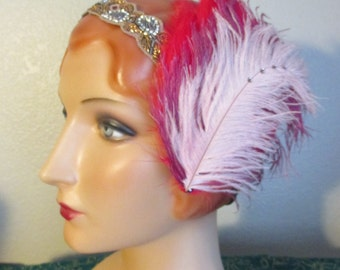 OOAK Feather Hair Clip swarovki rhinestone bellydance belly dance ATS cabaret flapper burlesque