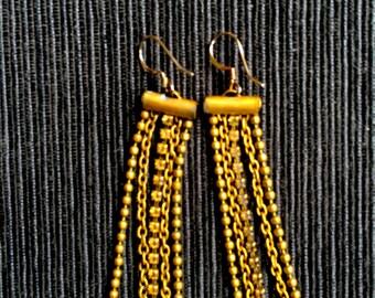 Vintage Brass drop Chain Earrings
