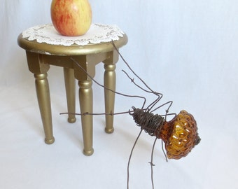 Large Amber Glass & Barbed Wire Spider - Vintage Optical Glass Globe and Barbed Wire Sculpture