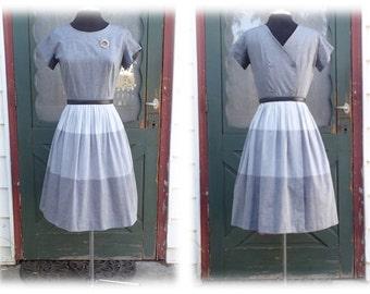 Vintage 1950's Grey Cotton Sun Dress w/ Striped Full Skirt & Sexy 4 Button Back -  Retro Sundress SZ 10 - 12