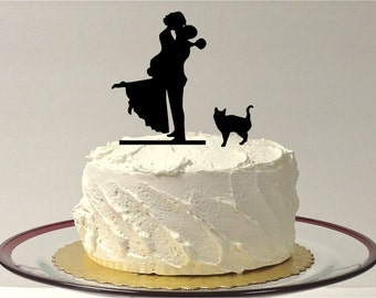 MADE In USA, Wedding Cake Topper Silhouette Cat + Bride & Groom Kissing Couple With Pet Cat Family of 3 Cake Topper Bride and Groom Topper