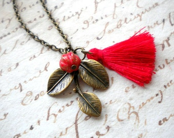 Red Necklace Tree Branch Necklace Leaf Necklace Red Tassel Necklace Red Jewelry Leaf Pendant Woodland Jewelry Leaf Jewelry Tree Necklace