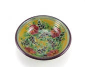 Yellow Stoneware Dish - Handmade Shallow Pottery Bowl - Use for Jewelry, Candy, Cat Bowl, or Soap- Red and Blue Floral Design
