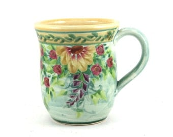 Porcelain Coffee Mug - Floral Design Blue Background Red Flowers - Hand-Thrown, Bisque Fired, Ceramic Glazed Tea Cup