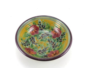 Yellow Stoneware Dish - Handmade Shallow Pottery Bowl - Use for Jewelry, Candy, Cat Bowl, or Soap- Red and Blue Floral Design and Polka Dots