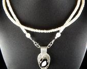 Fine Silver Black Fused Glass Pearl Necklace Set