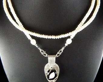Fine Silver Black Fused Glass Pearl Necklace Set