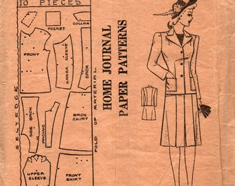 Australian Home Journal 6216 Womens War Era Skirt Suit 1940s Vintage Sewing Pattern Bust 32 inches Factory Folded