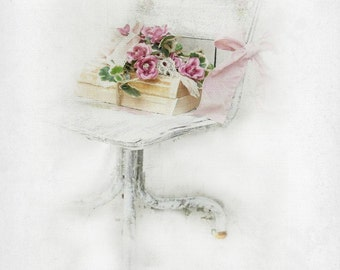 Country Wedding Photo Prop. Bridal Bouquet Flower Girl Accent. Antique Rustic Charming First School Chair. Shabby Chic Pink White