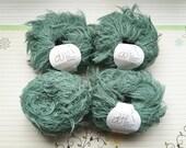wool eyelash yarn lot destash, GGH Lara color 007 sea breeze, green novelty bulky yarn, 4 skeins