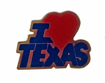 I LOVE TEXAS State vintage lapel cloisonne enamel pin badge souvenir