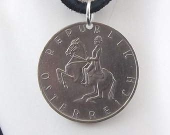 Austrian Coin Necklace, 5 Schilling, Coin Pendant, Leather Cord, Mens Necklace, Womens Necklace, Coin Jewelry, Birth Year, 1969
