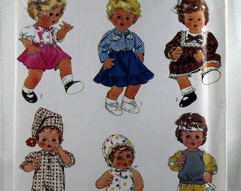 Simplicity 8376, Doll Clothes Sewing Pattern, Baby Doll Clothes Pattern, Doll Wardrobe Pattern, Sizes S, M, L, Uncut