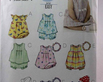Butterick 3405, Infants' Dress, Top, Romper, Panties, Headband and Hat Pattern, Sewing Pattern, Sizes Large and XLarge, Uncut