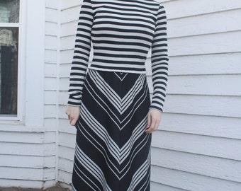Silver Striped Maxi Dress Chevron Black Vintage 70s Mod Retro Jonathan Logan XS