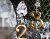 EARRINGS - vintage brass numbers 2 and 3 rhinestones holy medals charms military catholic virgin mary, the french circus by robyn parrish