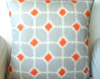 Orange Gray Ikat Decorative Throw Pillow Covers, Cushions, Orange Grey Cream, Sofie, Decorative Pillows, Couch Bed Sofa Pillows, ALL SIZES