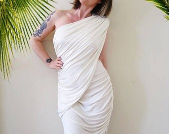 vintage 70s 80s one rhinestone shoulder white asymmetrical Climax dress ruched draped toga Grecian goddess