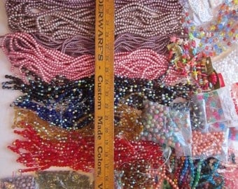 huge BEAD DESTASH - faceted glass beads, crackle beads, spatter beads, acrylic beads, coated glass beads