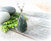 SALE - Moss Agate Woodland Necklace . Terrarium Pendant . Forest Green Jewelry