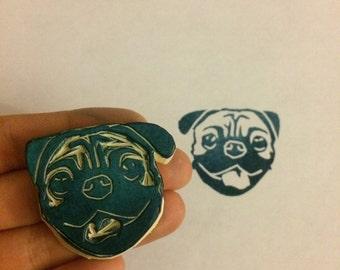 Pug Stamp - dog, rubber stamp