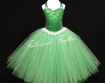 Emerald Green Halter Flower Girl Dress-Sequin Corset Style Halter Flowergirl Tutu Dress/4 More Colors Available...Baby up to Size 12