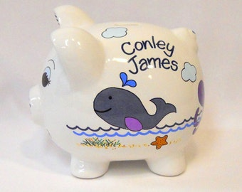 Personalized Piggy Bank with Whales and Purple Octopus