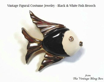 50s Poured Enamel Black & White Fish Brooch with Rhinestone Crystal Eye and Gold Accents - Vintage 50's Figural Costume Jewelry