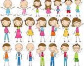 BRUNETTE We Are Family Stick Figures Cute Digital Clip Art - Commercial Use OK - Stick Figure Family Graphics