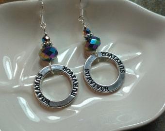 Purple Survivor Hoops Sterling Silver Earrings, Purple Cancer Survivor Earrings, Silver Purple Survivor Earrings, Survivor Hoop Earrings