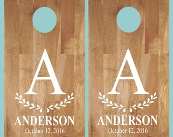 Cornhole Decal-Initial Name Est Date- Wedding Cornhole- Anniversary- Birthday-Personalized Cornhole- Custom Cornhole Decals-Vinyl Decal