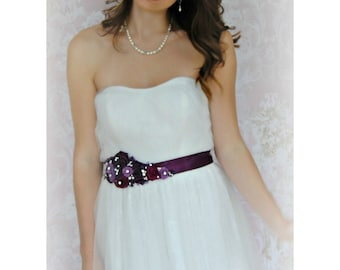 Purple Bridal Sash, Eggplant, Berry Wedding Belt with Handmade Flowers , Pearls, and Crystals, Plum Sash - SHIRAZ