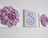 Custom Nursery Letter, Lilac, Lavender and White Nursery Letters, Wall Hanging Set, Nursery Decor, Personalized Initial Decor