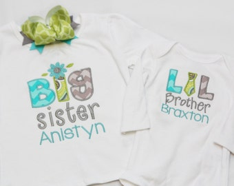 Big Sister Flower Shirt and Little Brother Tie Shirt with Matching Hairbow