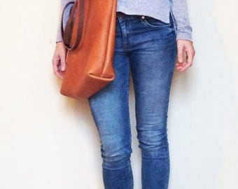 camel Brown Leather Tote Bag - light Brown Leather Bag - Leather Market bag cross body strap