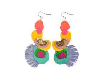 Geometric Earrings, Leather Fringe Earrings, Rainbow Earrings, Pop Art Earrings, Colorful Statement Earrings, Geometric Jewelry