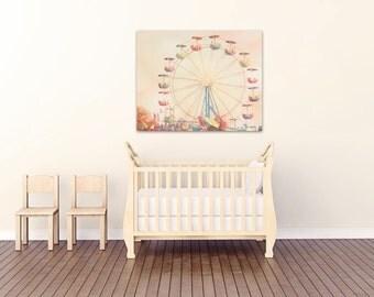 ferris wheel canvas art, nursery decor, ferris wheel canvas print, carnival art, ferri wheel photo, toddler room decor, gallery canvas,