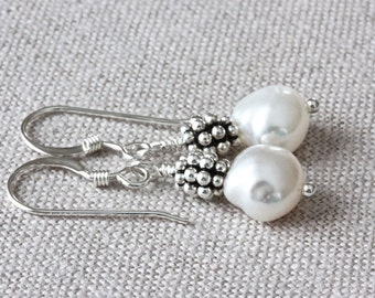 Baroque Pearl Earrings, White Freshwater Pearl Earrings, Long Dangle Earrings, White Pearl Earrings, Sterling Silver Jewelry for Women
