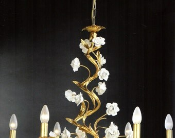 Italian wrought iron crystal gold leaf chandelier with white ceramic roses