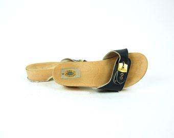 Dr. Scholls Navy Platform Sandals, Made in Italy, Women's Size 6