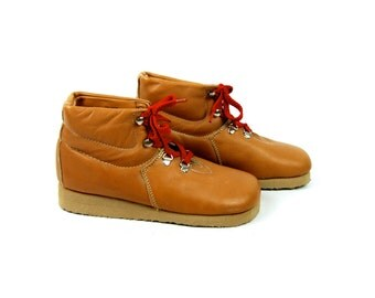 1960's Casual Ankle Boots - Mountaineering Style, Women's Size 8 M