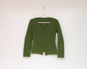 Vintage 1970s Pea Green United Colors of Benneton Wool Cardigan