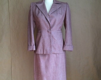 vintage 1940's 50's womens two piece skirt suit mid century womens clothing WW2 era swing