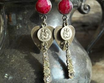 Sweet Embrace   Vintage Assemblage Earrings Religious Heart Rhinestone