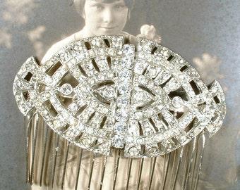 OOAK Antique Wedding Hair Comb, 1920s Vintage Bridal Headpiece Rhinestone Dress Clip to Hair Accessory Gatsby Art Deco Hairpiece Edwardian