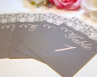 Gray Lace Table Numbers / Wedding Table Numbers / Blush and Gray  / Blush Table Numbers / Vintage Table Numbers / 10 Lace Taylor Table Cards